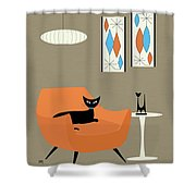 Mini Gravel Art Orange Chair Shower Curtain