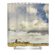 Minimal Mountaintop Meadow Shower Curtain