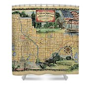 Minneapolis St. Paul Map Vintage Custom Map Art Hand Painted Shower Curtain