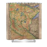 Minnesota Historic Wagon Roads Hand Painted Shower Curtain