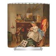 Miss Oakley Making The Scrapbook 1866 Shower Curtain