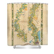 Mississippi River Historic Map Lousiana New Orleans Baton Rouge Map Farming Plantation Hand Painted  Shower Curtain