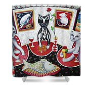 Monaco Cats Red Shower Curtain