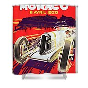 Monaco Grand Prix 1930, Vintage Racing Poster Shower Curtain