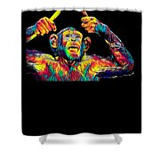 Monkey Drummer Gift For Musicians Color Design Shower Curtain