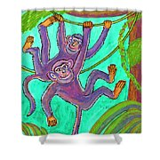 Monkeys On Creepers Shower Curtain