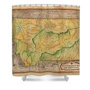 Montana Custom Map Art Rivers Map Hand Painted Shower Curtain