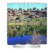 Montezuma's Well Az Water Blue Sky Reflections Stone Wall 3192019 5253. Shower Curtain
