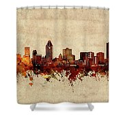 Montreal Skyline Sepia Shower Curtain