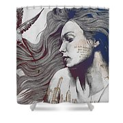 Monument - Red 'n Blue - Sleeping Beauty, Woman With Skyline Tattoo And Bird Shower Curtain