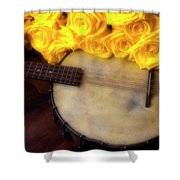 Moody Banjo And Yellow Roses Shower Curtain