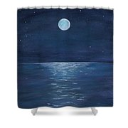 Moon Glow On The River Shower Curtain