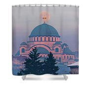 Moon In The Cross Of The Magnificent St. Sava Temple In Belgrade Shower Curtain