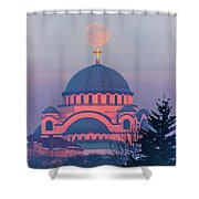 Moon On Top Of The Cross Of The Magnificent St. Sava Temple In Belgrade Shower Curtain