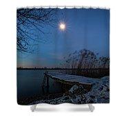 Moonlight Over The Lake Shower Curtain by Davor Zerjav