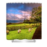 Morning Grazing Painting Shower Curtain