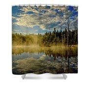 Morning Mist, Wildlife Pond  Shower Curtain by Jeff Sinon