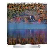 Morning Misty Reflection Of Eaton Church Shower Curtain by Jeff Folger