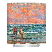 Morning Stroll At Isle Of Palms Shower Curtain