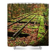Mossy Train Track In Fall Shower Curtain