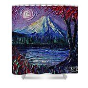 Mount Fuji - Textural Impressionist Palette Knife Impasto Oil Painting Mona Edulesco Shower Curtain