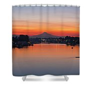 Mount Hood Over Columbia River At Dawn Shower Curtain
