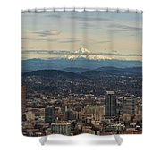 Mount Hood View Over Portland Cityscape Shower Curtain