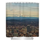 Mount Hood View Over Portland Cityscape Panorama Shower Curtain