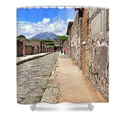 Mount Vesuvius And The Ruins Of Pompeii Italy Shower Curtain by Robert Bellomy