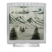 Mountain Foggy Dawn - In Abstract Realism Shower Curtain