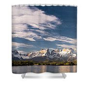 Mountain Range At Sunset Seen From Rio Shower Curtain