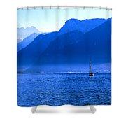Mountains Across Lake Geneva Shower Curtain by Jeremy Hayden
