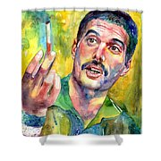 Mr Bad Guy - Freddie Mercury Portrait Shower Curtain