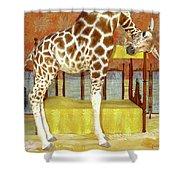 Ms Kitty And Her Giraffe  Shower Curtain