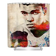 Muhammad Ali Watercolor Portrait Shower Curtain