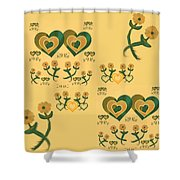 Multiple Tilted Hearts Bronze II Shower Curtain