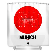 Munich Red Subway Map Shower Curtain