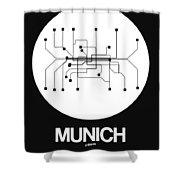 Munich White Subway Map Shower Curtain