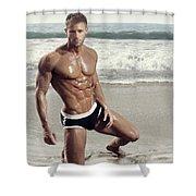 Muscular Model On Beach Shower Curtain