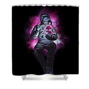 Mushroom Cosmonaut Space Traveller Shower Curtain by Sassan Filsoof
