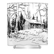 My Cabin In The Woods Shower Curtain