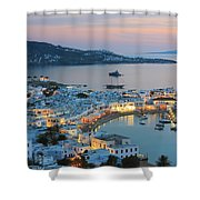 Mykonos Town At Sunset Mykonos Cyclades Greece  Shower Curtain