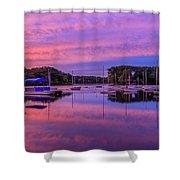 Mystic Lake Sunrise Shower Curtain