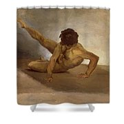 Naked Man Reversed On The Ground Shower Curtain