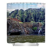 Napali Cave And Waterfall Shower Curtain