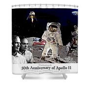 Nasa 50th Anniversary Of The Apollo 11 Lunar Landing By Artist Todd Krasovetz Shower Curtain