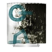 Natural Reflections With Blue Shapes Shower Curtain