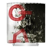 Natural Reflections With Red Shapes Shower Curtain