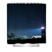 Nauset Light Under The Stars Shower Curtain by Kyle Lee