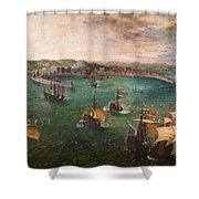 Naval Battle In The Gulf Of Naples Shower Curtain